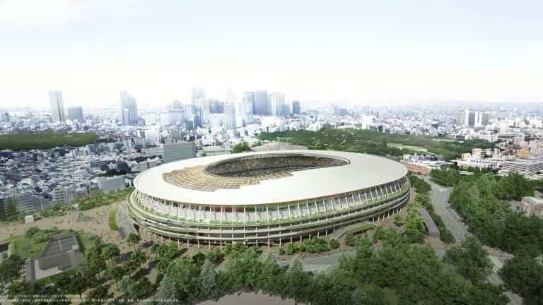 Exterior do Estádio Olímpico de Tóquio.