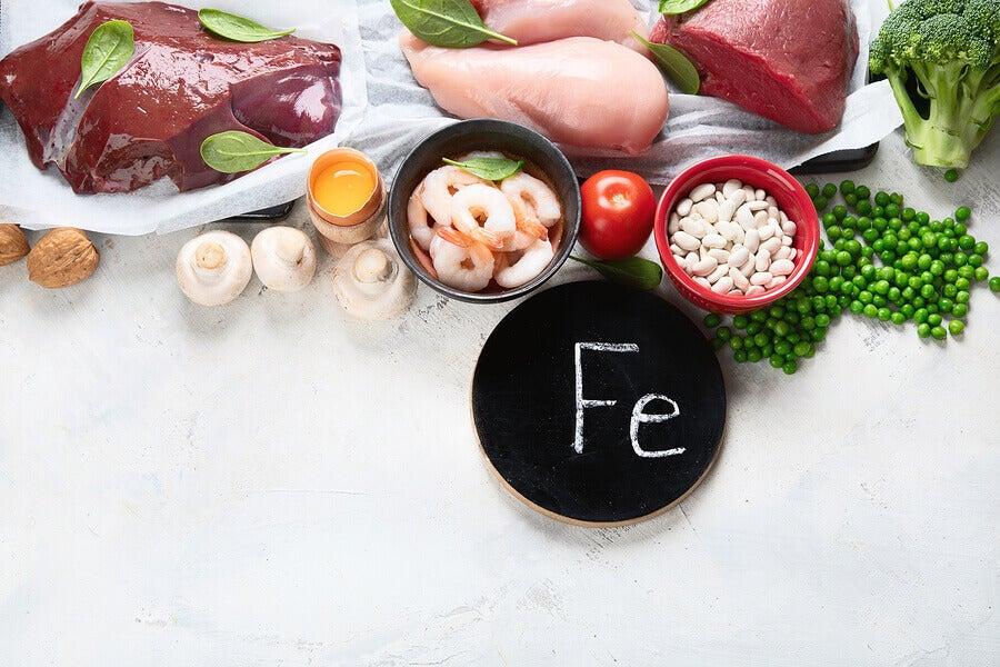 Alimentos para evitar a deficiência de ferro no organismo.