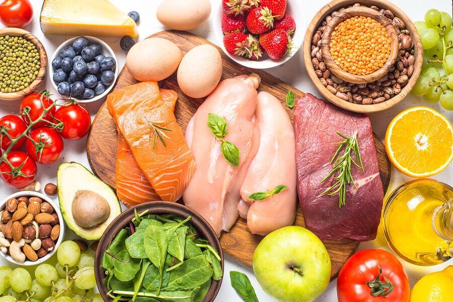 Alimentos de uma dieta baixa em carboidratos.