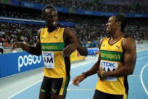 Usain Bolt e Yohan Blake, os dois melhores velocistas do mundo
