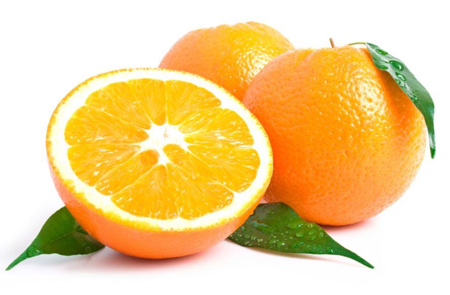 Ortada kesilmiş portakal.