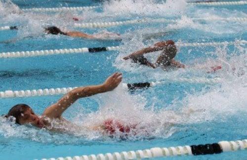 havuzda yüzen insanlar