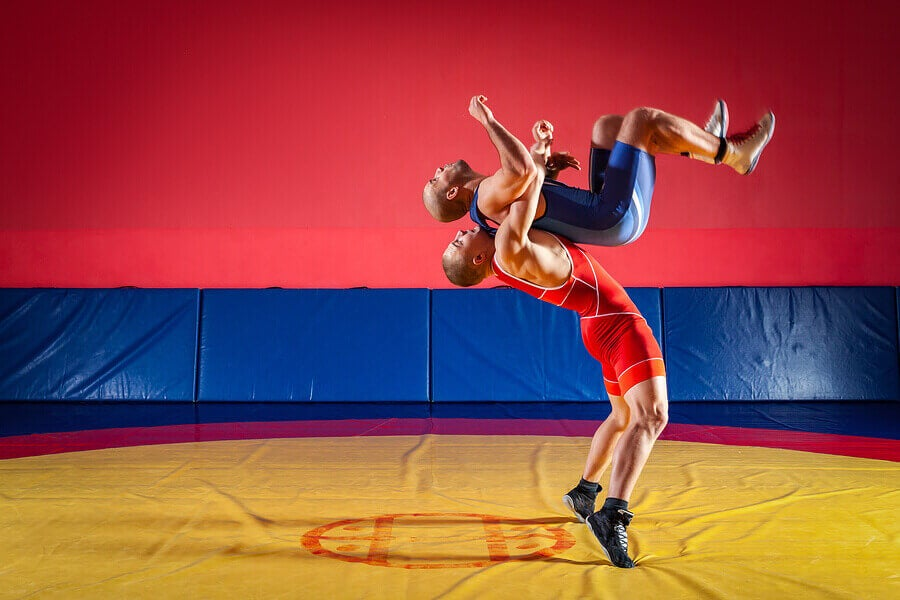 Bireysel Olimpik spor: güreşen adamlar