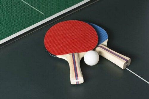 masa tenisi raketleri ve pin pon topu