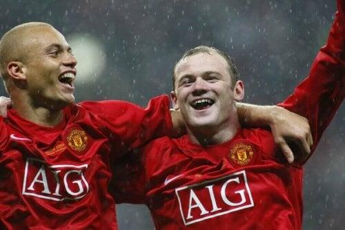 Wayne Rooney'nin Manchester United'da oynarkenki bir fotoğrafı.