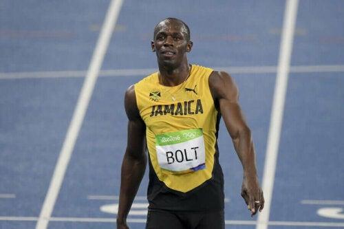 Usain Bolt'un bir yarıştan hemen sonra çekilmiş bir fotoğrafı.