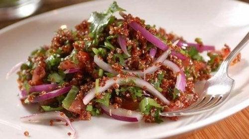 red quinoa salad dish