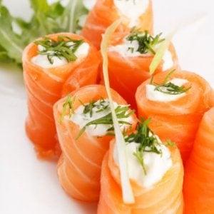Salmon rolls.