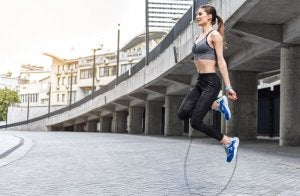 Girl jumping the rope
