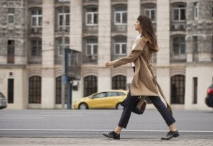Woman walking in the street.