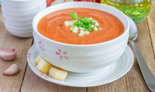 bowl of gazpacho on table