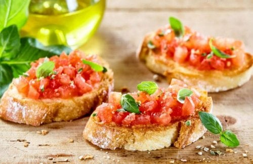 toast with tomatoes olive oil and basil