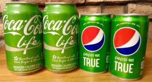 Soda cans with stevia.