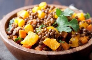 Pumpkin with lentils in a plate.