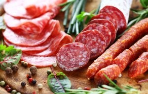 Sausages and meats containing sugar.