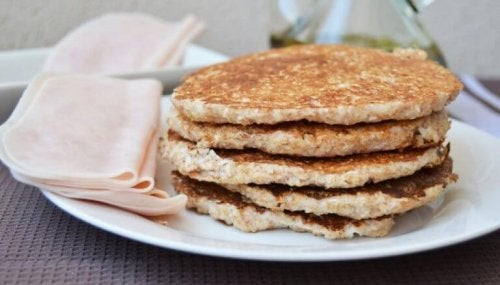 oatmeal protein pancakes stack of pancakes with deli ham on the side