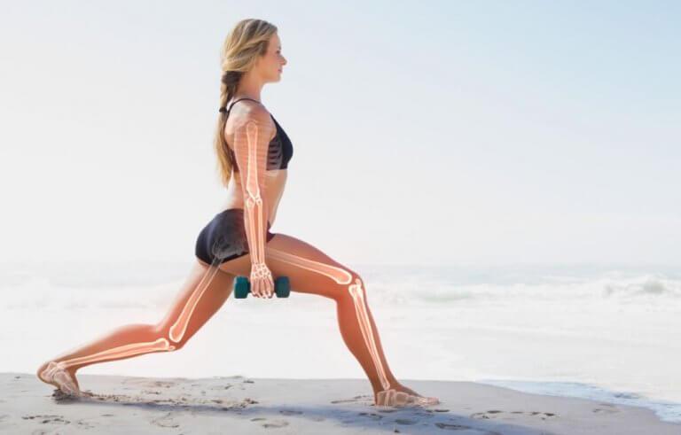 illustration af knoglestruktur på kvinde der laver split-squat