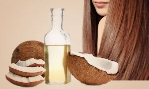 Bottle of coconut oil used as conditioner.