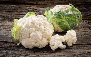 Raw cauliflower in a table