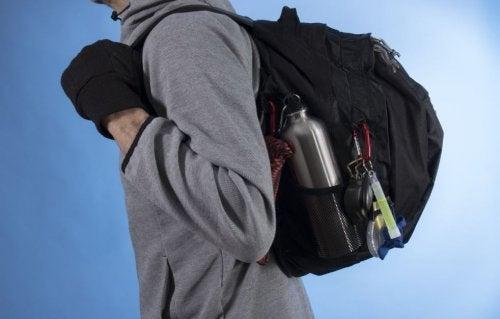 An emergency backpack is full of useful things.