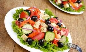 Plate of Greek salad.