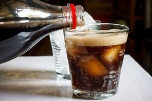 A glass filled with soda