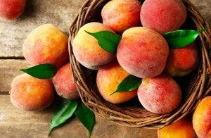 Peaches on the table.