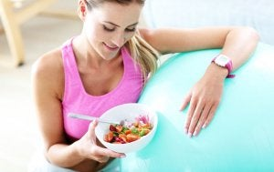 Woman eating after working out