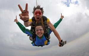 Couple skydiving.