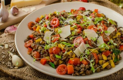 Lentil salad prepared with parmesan