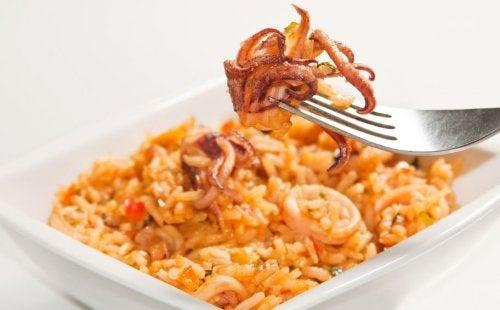 Rice with calamari.