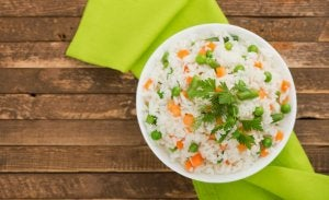 Nutrition habits: one plate of rice.