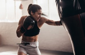 Woman practicing fitness boxing