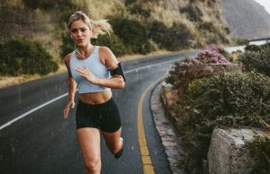 A woman running on the road