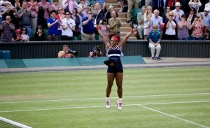 Serena Williams celebrating during a match