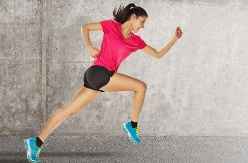 Woman running stride