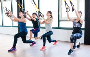 TRX routine lunge squat