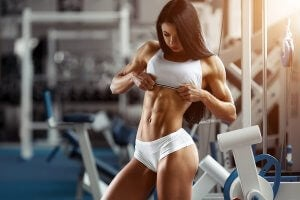Woman with ripped abs