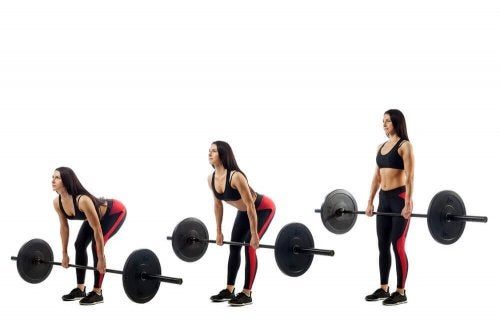 Woman doing deadlifts illustration in stages
