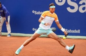 Rafael Nadal on a clay court
