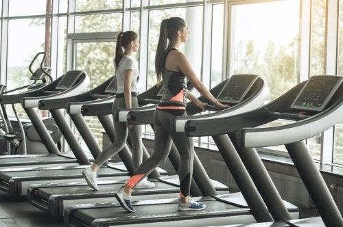 Two women on treadmills liss training