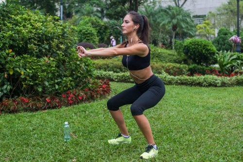Woman doing squats great leg exercises