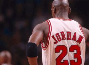 Michael Jordan with his 23rd jersey