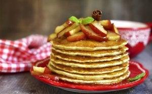 healthy apple ring pancakes