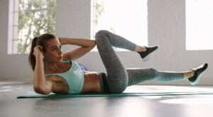 Woman doing bicycle crunches