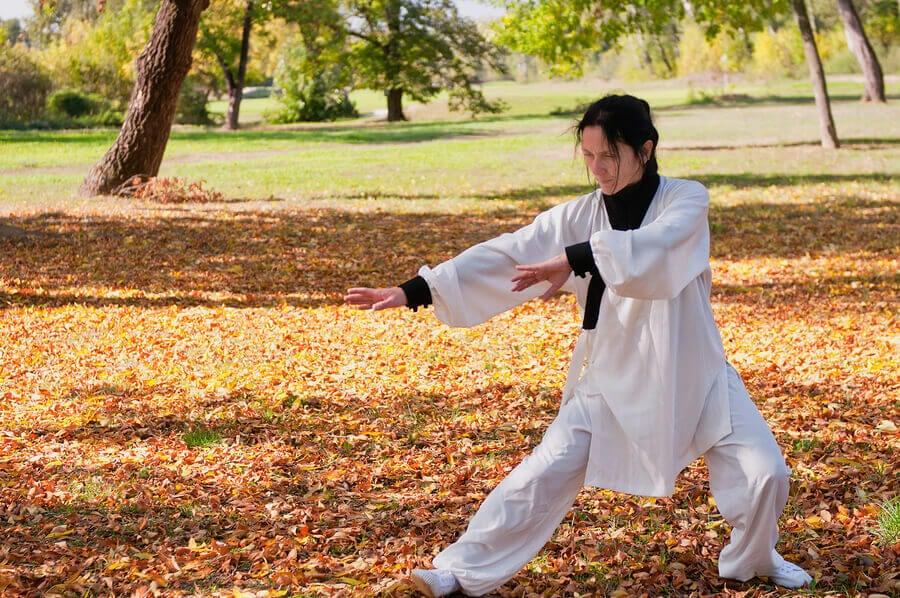 Woman performing tai chi