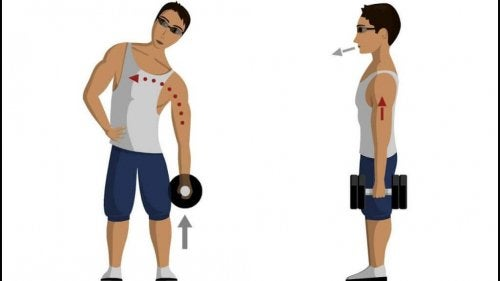 standing abs with dumbbells