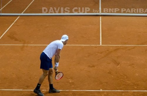 A game serve from the Davis Cup