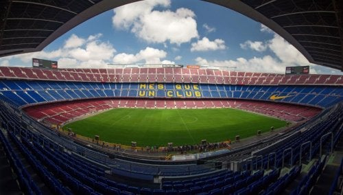 """The FC Barcelona stadium with the chant """"more than a club"""""""