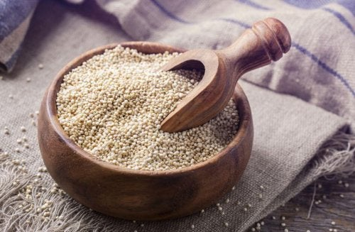 Grains have low fat content and a high percentage of fiber.